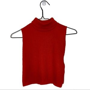 Red Ribbed Knit Lightweight Turtleneck Dicky